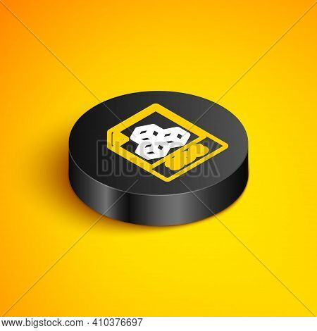 Isometric Line 3ds File Document. Download 3ds Button Icon Isolated On Yellow Background. 3ds File S
