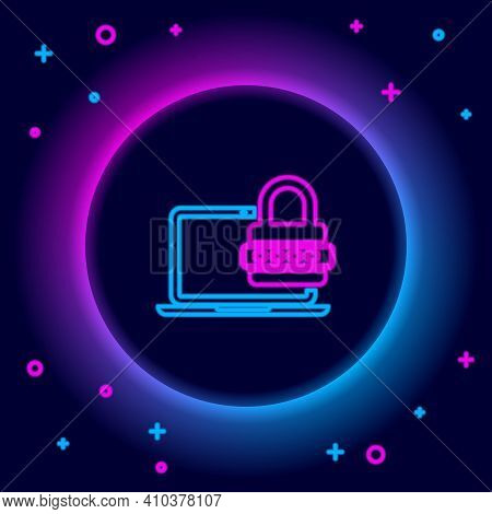 Glowing Neon Line Laptop With Password Notification And Lock Icon Isolated On Black Background. Secu