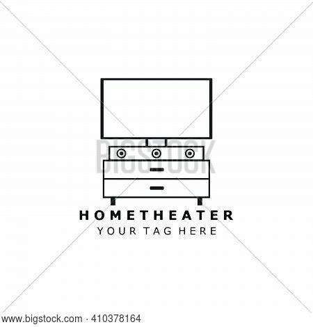 Home Theater Logo Line Art Vector Illustration Template Design