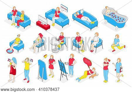 Self Care Concept Isometric Recolor Icon Set With Woman And Her Home Affairs In Light Blue And Red V