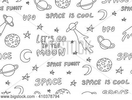 Seamless Pattern With Astronomical Or Celestial Objects. Heavenly Bodies In Space. Vector Hand Drawn