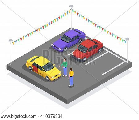 Car Ownership Usage Isometric Composition With Cars At Parking Lot And Characters Of Seller And Buye
