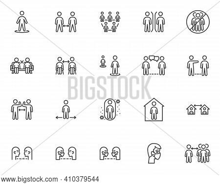 Social Distancing Line Icons Set. Linear Style Symbols Collection, Outline Signs Pack. Physical Dist