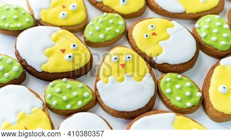 Easter Background With Funny Sugar Biscuits. Cute Chickens In The Eggshell Iced Butter Biscuits. Cre