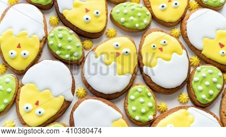 Easter Sugar Cookies Background. Buttery Easter Egg Biscuits With Meringue. Easter Chickens Cookies.
