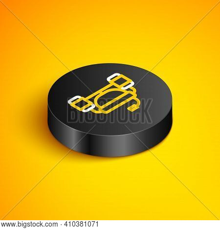 Isometric Line Beer Helmet Or Hand Free For Drink Icon Isolated On Yellow Background. Black Circle B