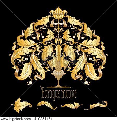 Decorative Elements In Baroque, Rococo, Victorian, Renaissance Style. Trendy Frolar Vintage Pattern