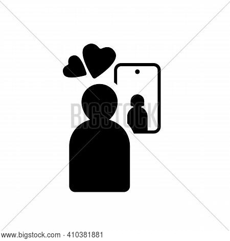 Virtual Love. Web Chat Of A Couple's Lover. Virtual Conversation Using A Mobile Smartphone. Relation