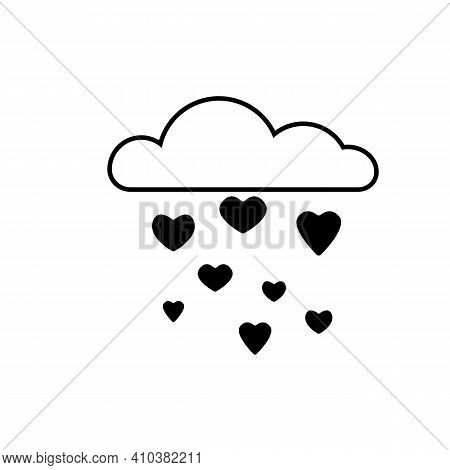 Cute Icon Clouds Drops Hearts Romantic And Lovely Seamless Vector Background