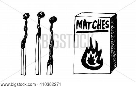 Hand Drawn Doodle Matches. Burnt Wooden Stick. Simple Vector Illustration.