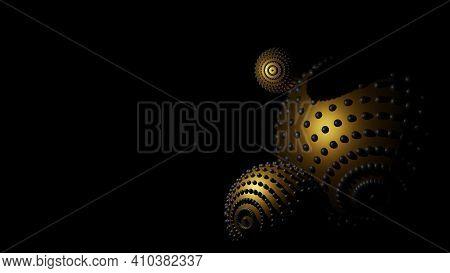 Dark Banner With Gold Balls, Modern Technology. Darknet Concept. Virus Molecule