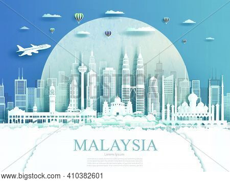 Travel Malaysia Monument In Kuala Lumpur City Modern Building In Circle Texture Background. Business