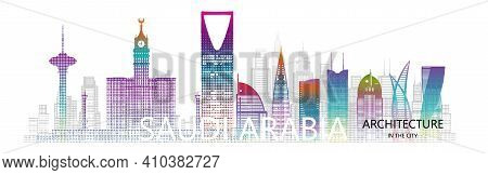 Modern Architecture Cityscape Skyscraper Saudi Arabia With Halftone Colorful. Travel Arabia Architec