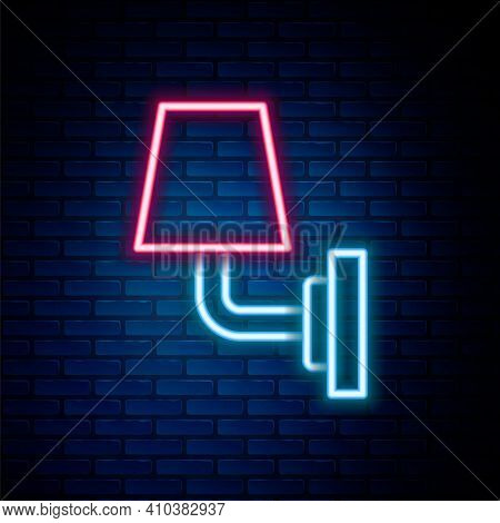 Glowing Neon Line Wall Lamp Or Sconce Icon Isolated On Brick Wall Background. Wall Lamp Light. Color