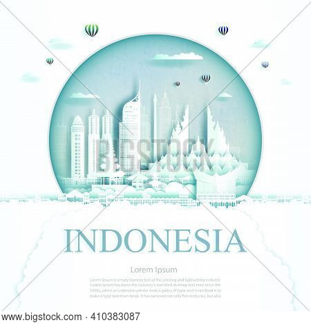 Travel Indonesia Monument In Jakarta City Modern Building In Circle Texture Background. Business Tra