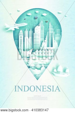 Travel Indonesia Architecture Monument Pin In Asia With Ancient And City Modern Building Business Tr