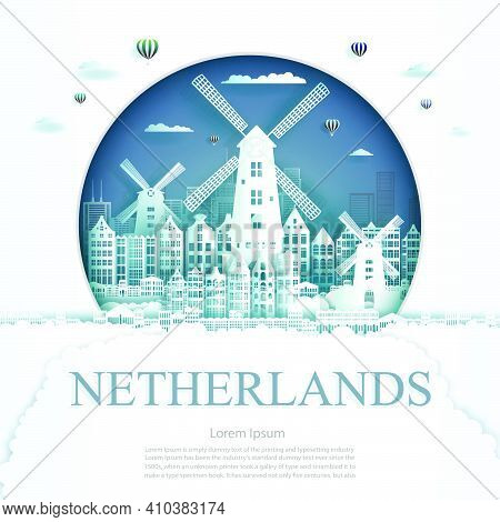 Travel Netherlands Monument In Amsterdam City Modern Building In Circle Blue Background. Business Tr