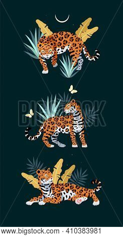 Vector Illustration Of Cute Jaguar And Palm Leaves