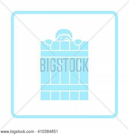Criminal Peeping From Fence Icon. Blue Frame Design. Vector Illustration.