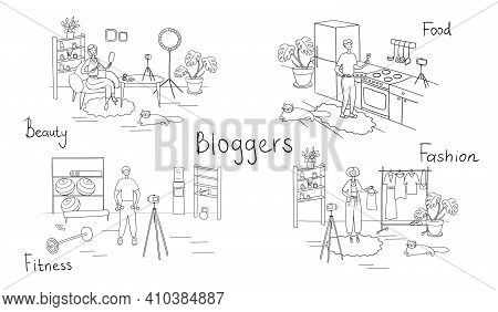 Bloggers Set. Different Vloggers Shoot Videos For Their Followers. Influencers Create Content For Th