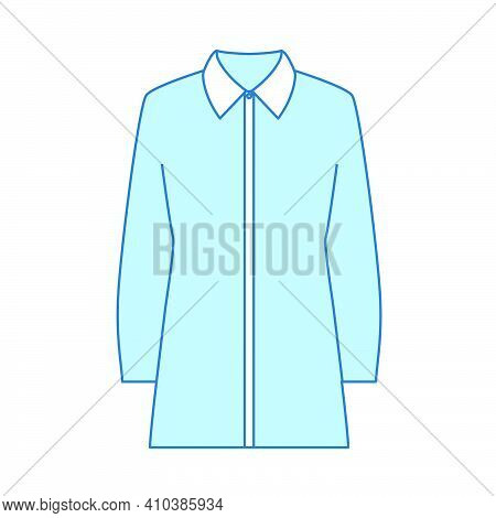 Business Blouse Icon. Thin Editable Line With Blue Fill Design. Vector Illustration.
