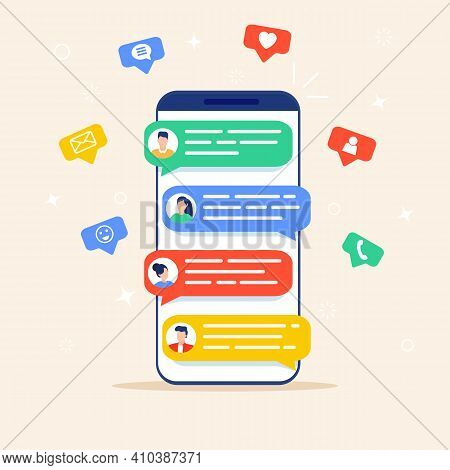 Online Chat Messages Text Notification On Mobile Phone. Icons, Text Messages, Messages, Notification