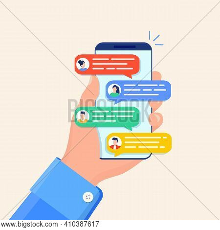 Online Chat Messages Text Notification On Mobile Phone. Hand Holds Smartphone Sms Speech Bubbles Pus