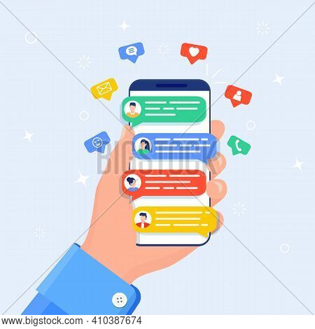 Hand Holds Smartphone. Online Chat Messages Text Notification On Mobile Phone. Icons, Text Messages,
