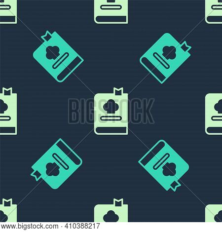 Green And Beige Cookbook Icon Isolated Seamless Pattern On Blue Background. Cooking Book Icon. Recip