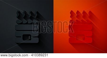Paper Cut Hot Sauna Stones Icon Isolated On Black And Red Background. Spa Resort Recreation, Bathhou