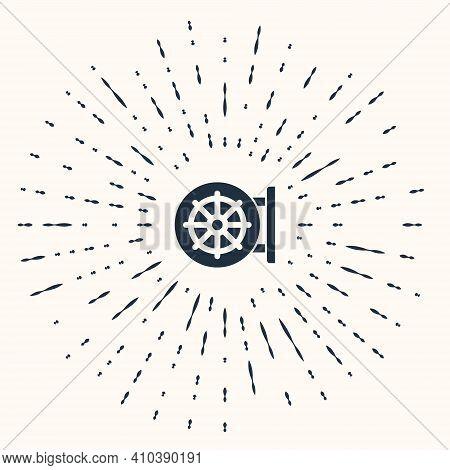 Grey Dharma Wheel Icon Isolated On Beige Background. Buddhism Religion Sign. Dharmachakra Symbol. Ab