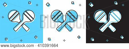 Set Maracas Icon Isolated On Blue And White, Black Background. Music Maracas Instrument Mexico. Vect