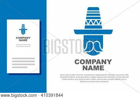 Blue Mexican Man Wearing Sombrero Icon Isolated On White Background. Hispanic Man With A Mustache. L