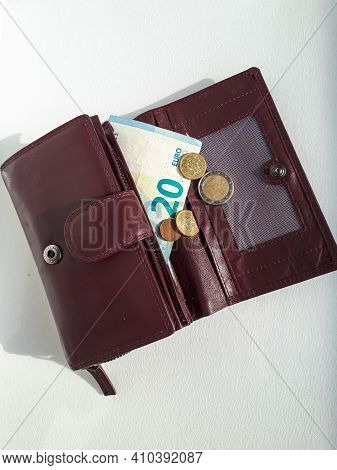 Leather Wallet With Euro Money - 20 Euro Banknote And Coins
