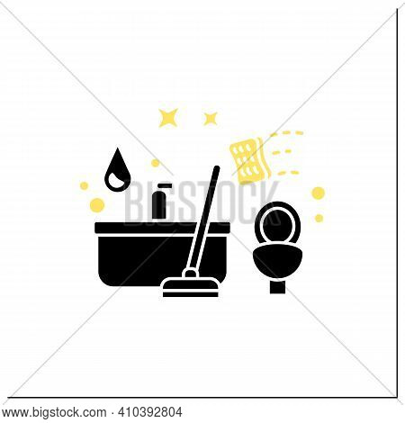 Bathroom Cleaning Glyph Icon. Home Cleanup. Bath And Toilet Cleanup. Washing, Wiping. Cleaning Servi