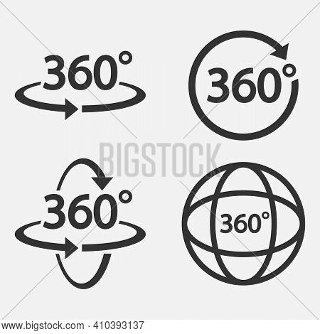 Set Of 360 Icon. 360 Degree View Symbol. Vector Illustration.