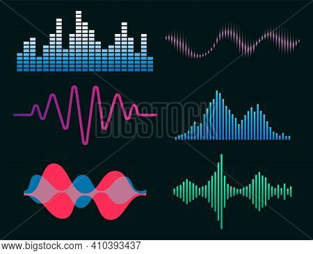 Frequency Audio Waveform, Music Wave Hud Interface Elements, Voice Graph Signal. Vector Audio Electr