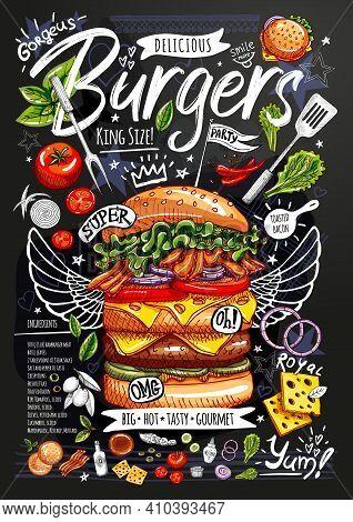 Food Poster, Ad, Fast Food, Ingredients, Menu, Burger. Sliced Veggies, Bun, Cutlet, Cheese Meat Baco