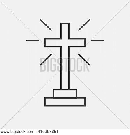 Christian Cross Icon Logo App, Ui. Vector Illustration.