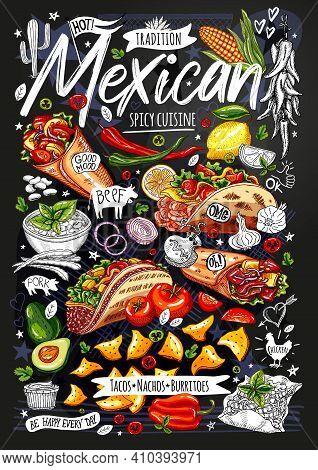 Food Poster, Ad, Fast Food, Menu, Restaurant, Mexican Cuisine, Nachos, Burritos, Tacos, Snack. Avoca