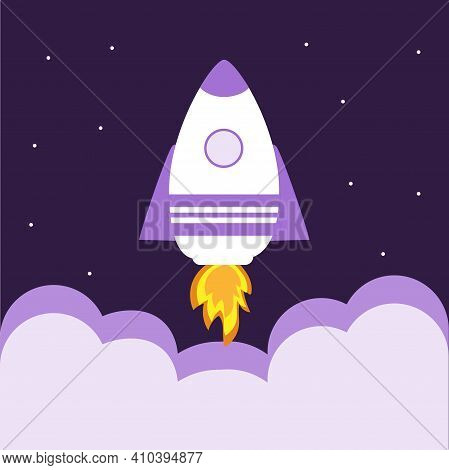 Takeoff Of A Space Rocket. Space Exploration. Travel To Space.vector Illustration.