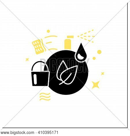Green Cleaning Glyph Icon. Ecological Products. Without Chemicals. Zero Waste Products, Environment