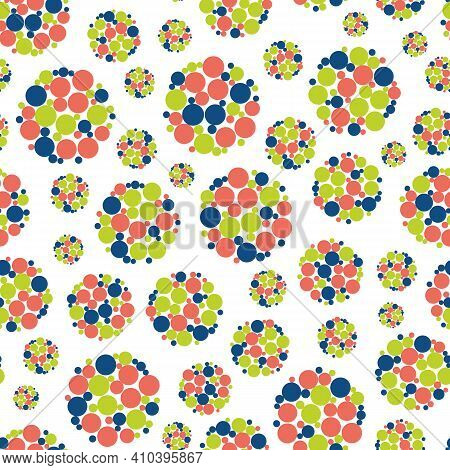 Abstract Allium Flower Seedhead Seamless Vector Pattern Background. Blue, Coral Red, Lime Green Seed
