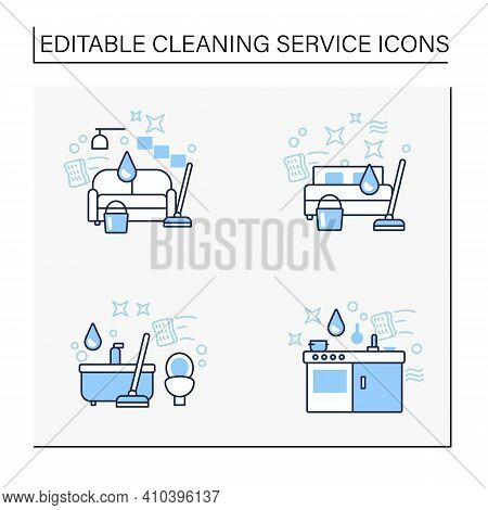 Cleaning Services Line Icons Set.consists Of Living Room, Kitchen, Bathroom Cleaning. Cleanup Concep