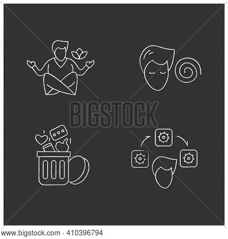 Focus Mind Chalk Icons Set. Filled Flat Signs Collection For Attention Control, Mindfulness Meditati