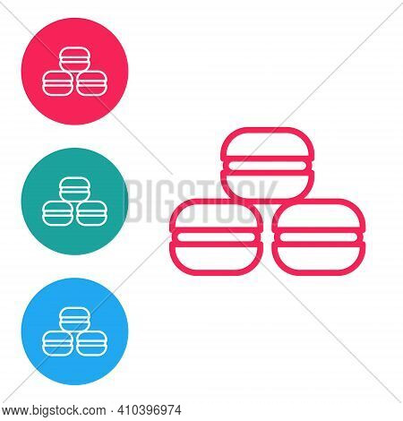 Red Line Macaron Cookie Icon Isolated On White Background. Macaroon Sweet Bakery. Set Icons In Circl