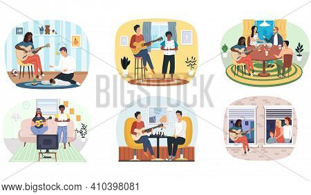 Set Of Illustrations About People Playing Guitar And Performing Songs Live For Relatives And Friends