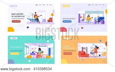 Set Of Illustrations On Topic Of Teaching Music And Musical Notation. Musicians Are Playing Guitar.