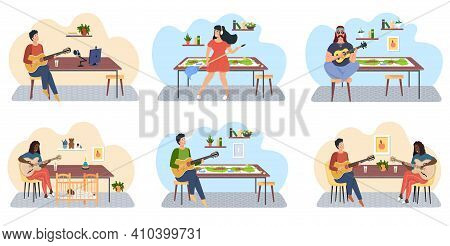 Set Of Illustrations About People Playing Guitar On Background Of Board Game And Crealing Tracks. Mu