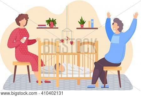 Husband And Wife Put To Bed Child In Cradle. People Communicate And Spend Time Together At Home. Mot